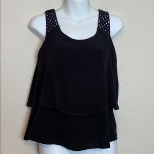 Loft Black Tiered Tank size XS